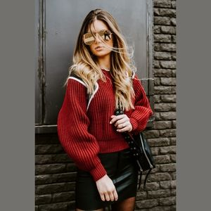 FRAME Chunky Knit Sweater Calvary Red
